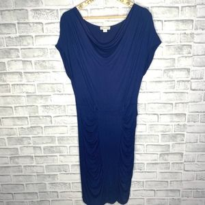 Monsoon Navy Bodycon Ruched Dress EUC Size 6 C4-39